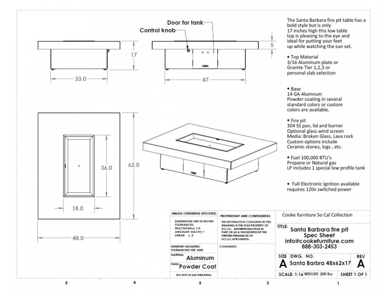 Santa Barbara 62x48x17 Product Specifications