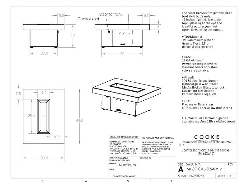 Santa Barbara 40x30x17 Product Specification