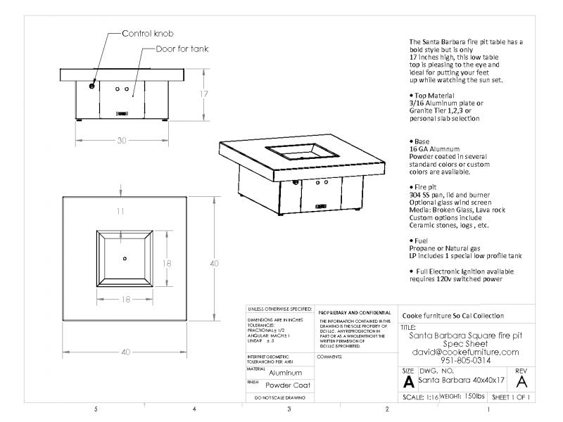Santa Barbara 40x40x17 Product Specifications