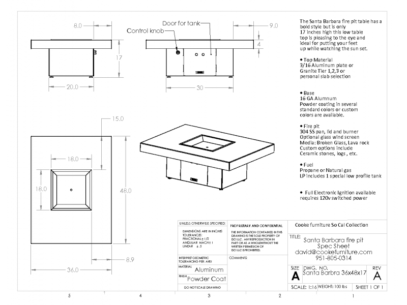 Santa-Barbara 48x36x17 Product Specification