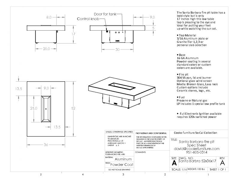 Santa Barbara 52x36x17 Product Specification