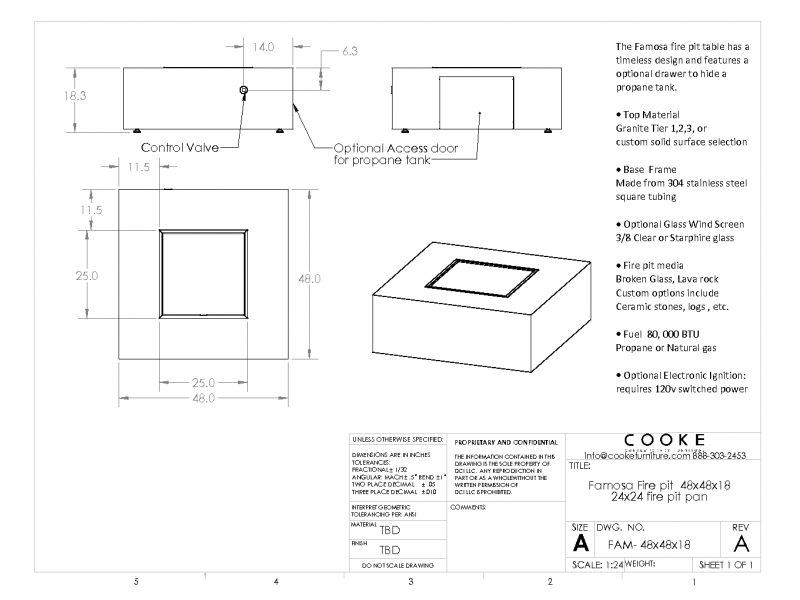 Famosa 48x48x18 Product Specifications