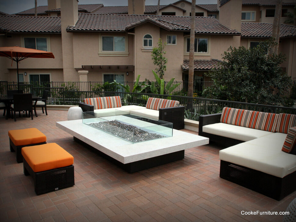COOKE Montecito - Safe, durable fire pit tables for community spaces.
