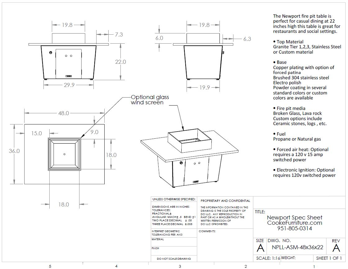 Newport 48x36x21 Product Specifications