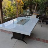 Beautiful dining surfaces with rugged stainless steel base.