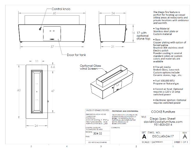 Diego 60x24x17 Product Specifications