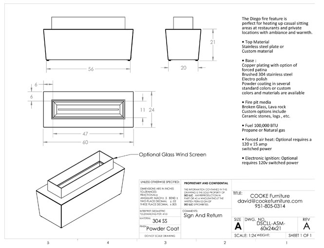 Diego 60x24x21 Product Specifications
