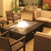 Custom Diego Fire Pit with vented electric heater upgrade package.
