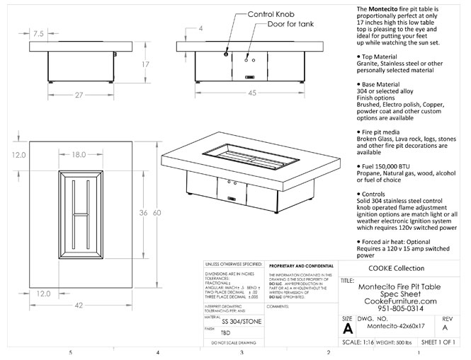 Montecito 42x60x17 Product Specifications