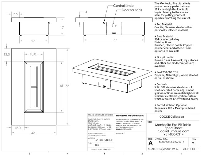 Montecito 42x72x17 Product Specifications