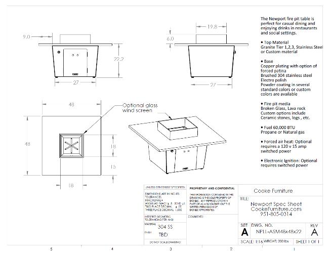 Newport 48x48x21 Specifications