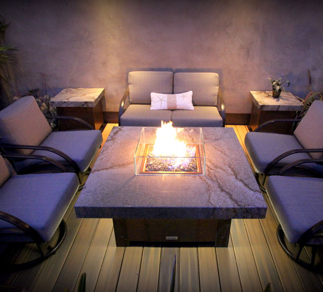 Balboa fire pit table with custom LED downlighting.