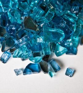 Blue blend fire pit glass