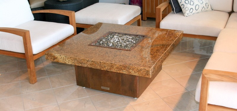 Smaller propane fueled granite fire pit table.