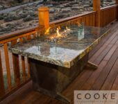 Beautiful elegant fire pit tables for mountain living.
