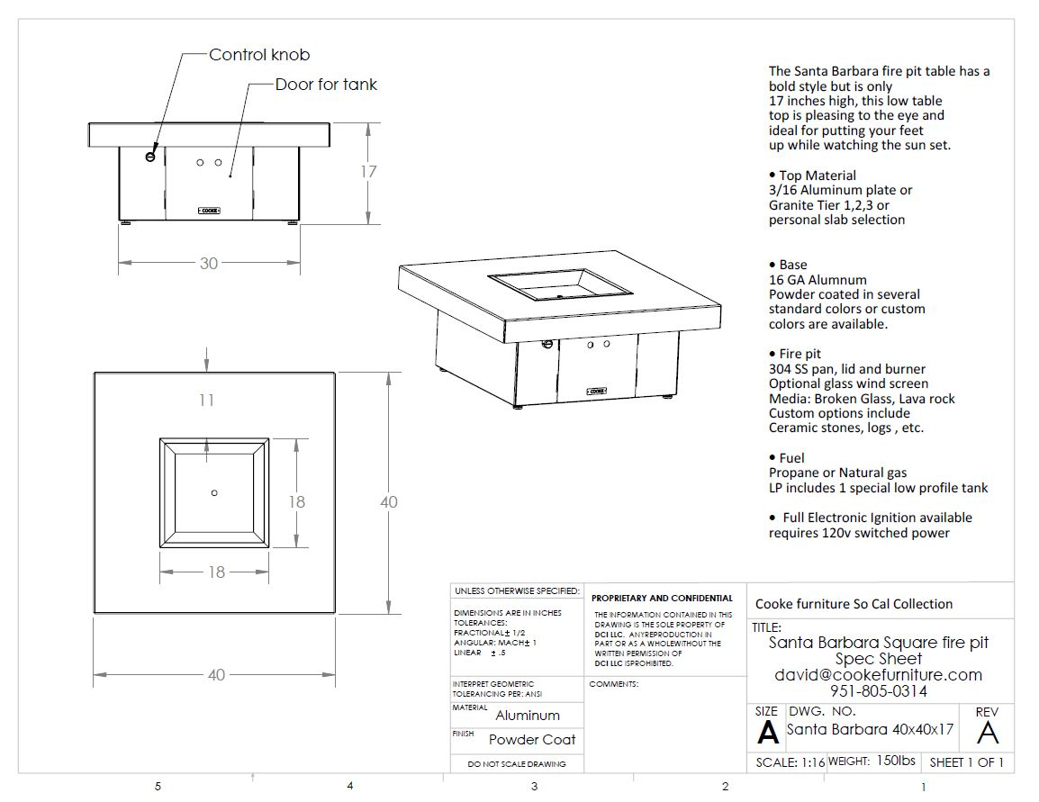 Santa Barbara 40x40x17 Product Specifications