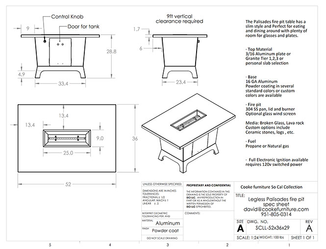 Palisades 52x36x30 Dining Product Specification