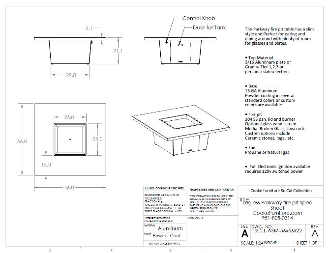 Parkway 56x56x21 Specification
