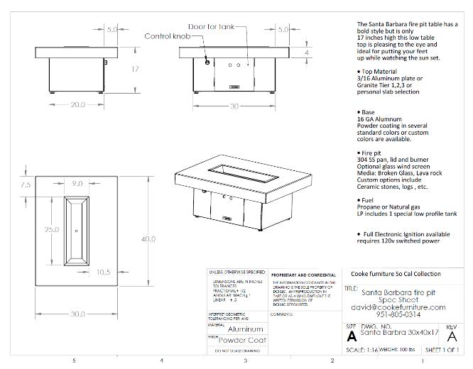 Santa Barbara 40x30x17 Product Specification