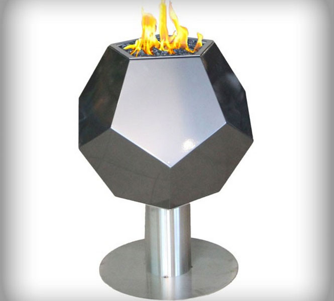 Custom steel and stone fire features.