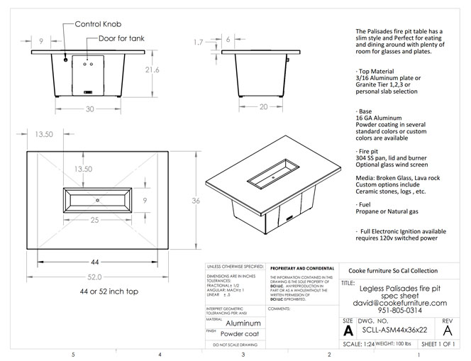 Palisades 44x36x21 Product Specification