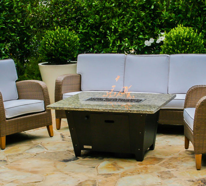 Palisades granite fire pit table.