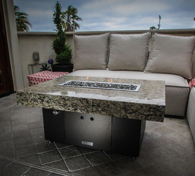 Santa Barbara Fire Pit Table - with granite table top.