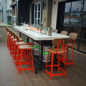 Custom bar height fire pit tables for restaurants, breweries, or distilleries.