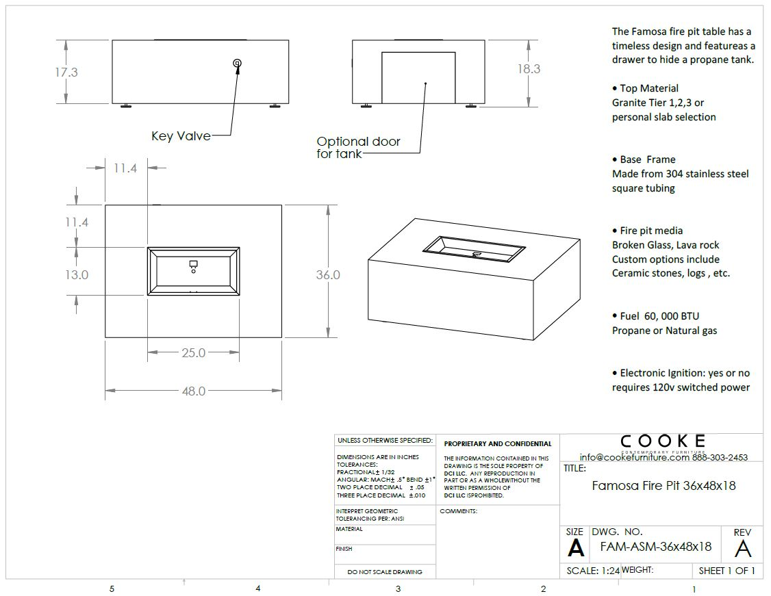 Famosa 36x48x18 Product Specifications