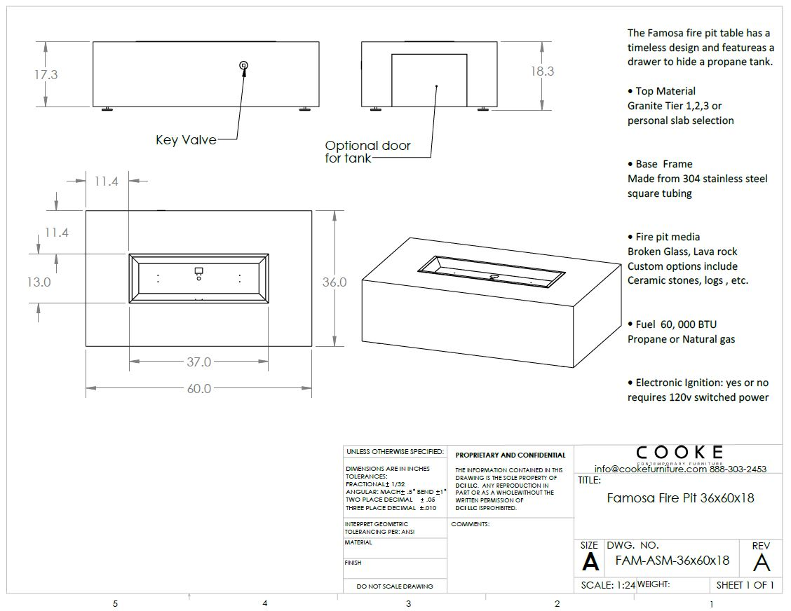 Famosa 36x60x18 Product Specifications