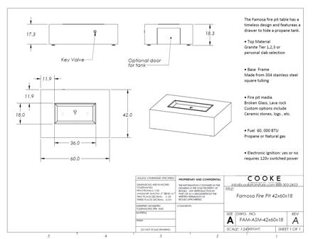 Famosa 42x60x18 Product Specifications