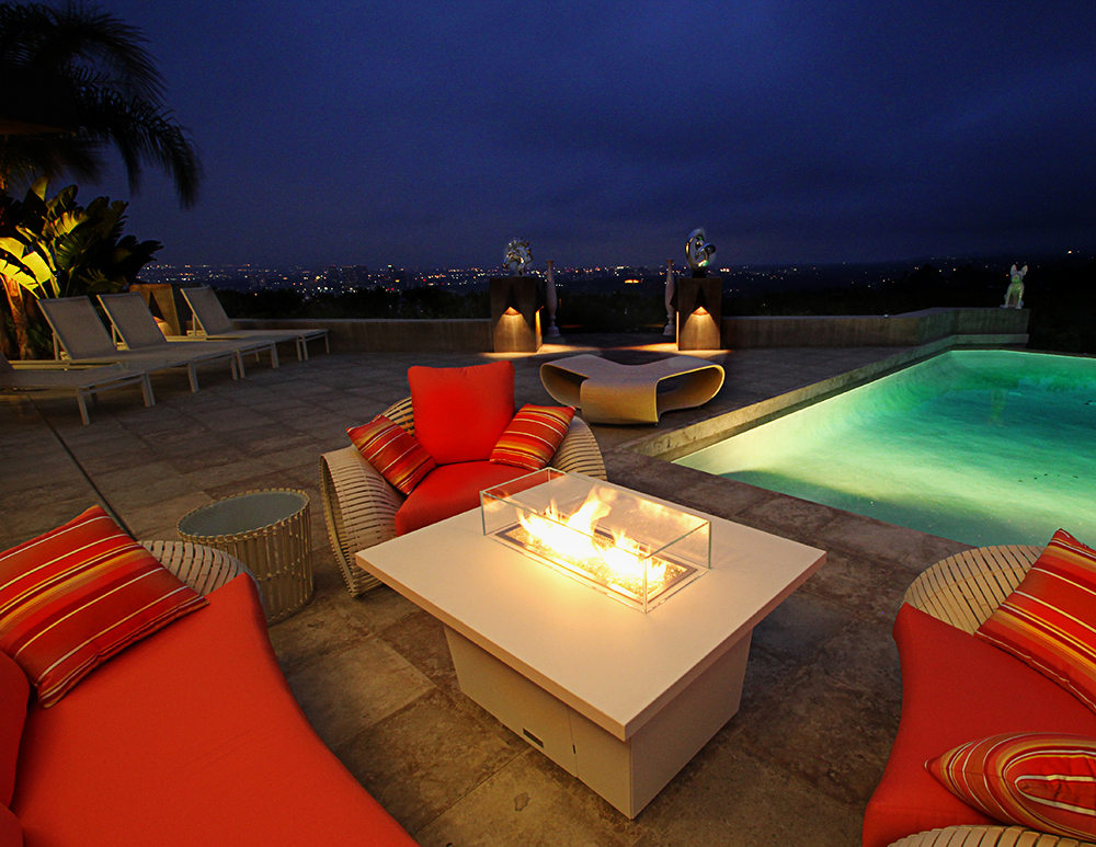 Custom poolside fire pits