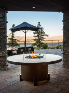 72 inch round Mammoth Fire Pit Table with Neolith Aura top