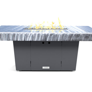 Palisades 52x36 SB- Shown with Gray Texture Base and brushed Aluminum Top