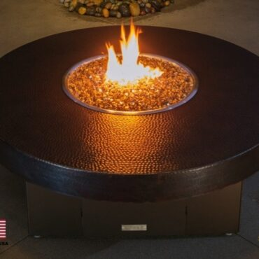 Hammered Copper Fire Pit Table