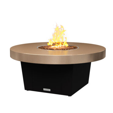 Parkway Circular Fire Pit Table Shown With Beige Powdercoat Top and Bronze Powdercoat Base