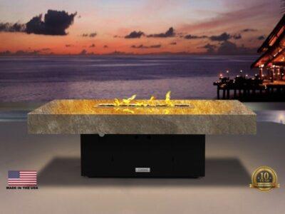 Santa Barbara Fire Pit Table - 52x36 (Shown with Santa Cecilia Granite Top & Black Powdercoat Base)