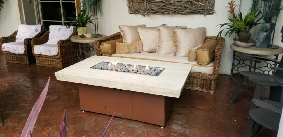 A beautiful Montecito in Travertine and Powder Coated Stainless